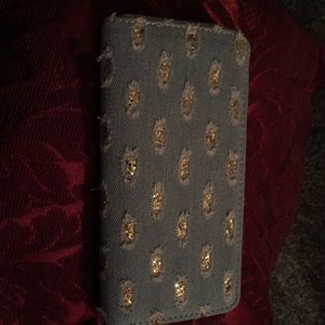 Handbags - Ripped Denim Wallet.